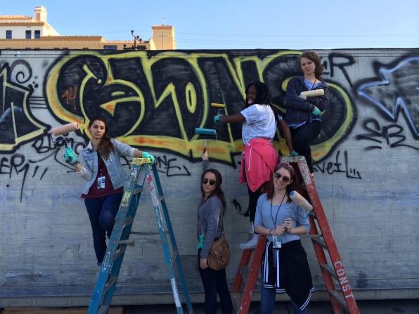 Painting over graffiti in LA