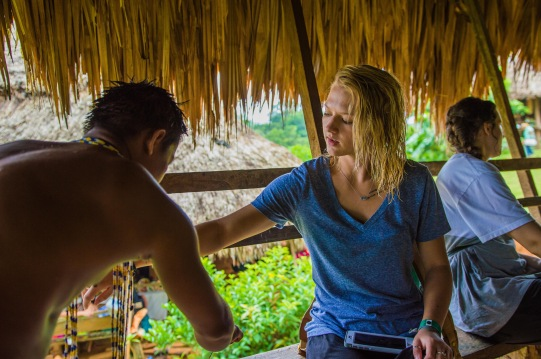 Kourtney getting a tribal henna tattoo. Copyright 2015, used with permission by Laura Pitcher