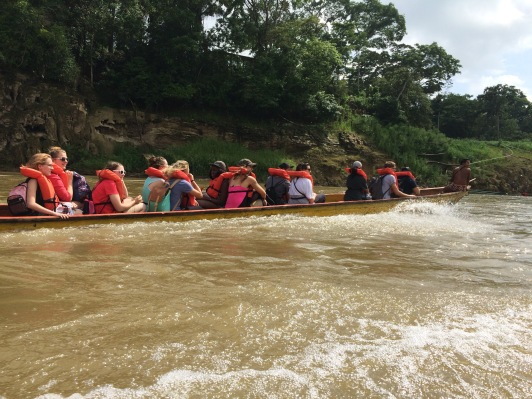 The team on the motorized canoes. Copyright 2015, used with permission by Valerie Garza